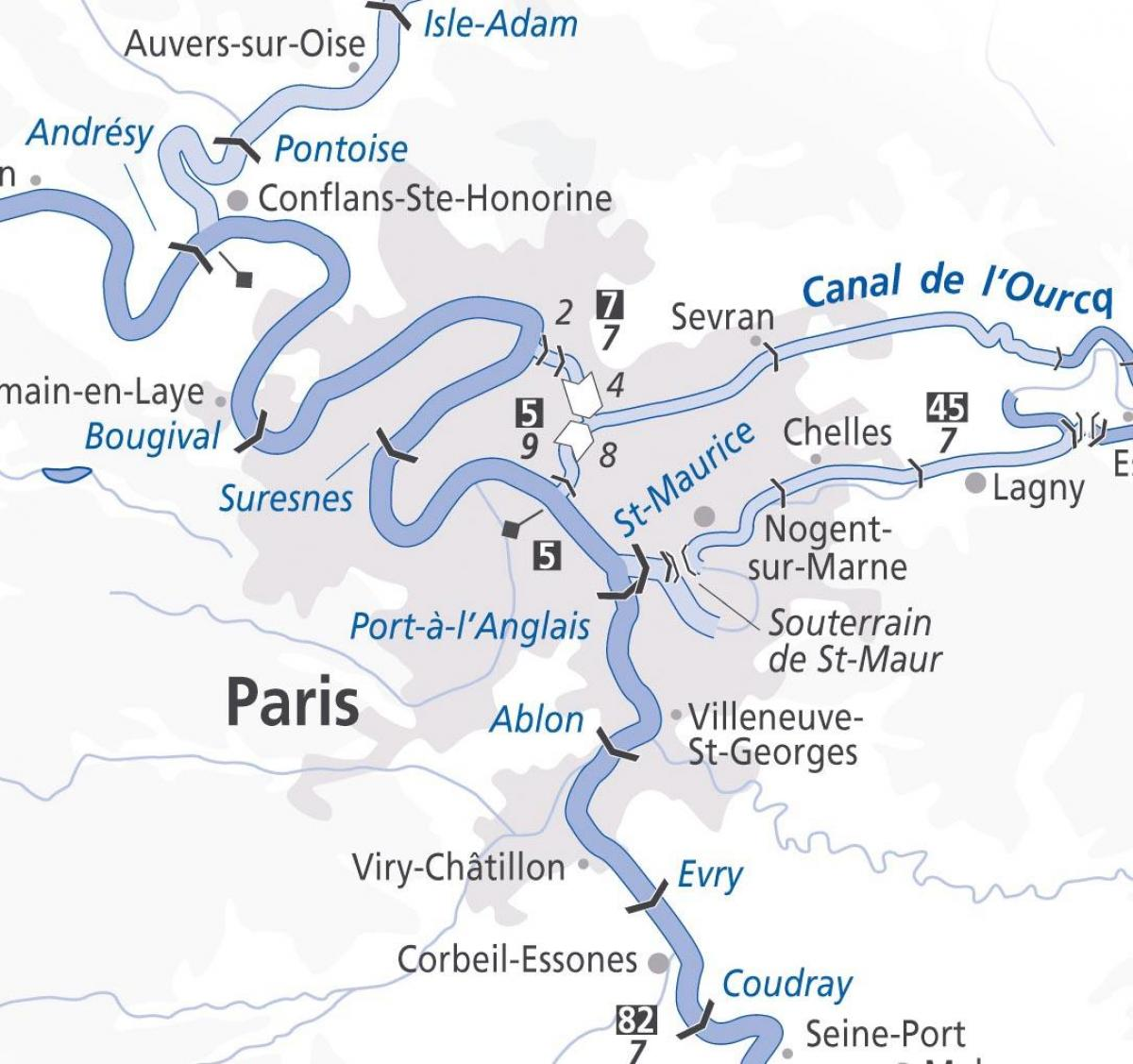 Paris Kaart Seine Parijs Rivier De Kaart Ile De France Frankrijk